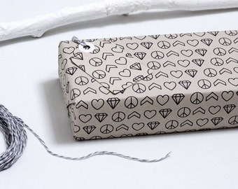 Peace Chevron Heart Diamond Wrapping Paper with Gift Tags