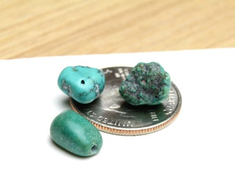 Genuine Turquoise Nuggets 7-12mm 3pcs