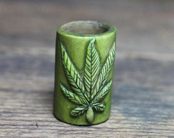 marajuana leaf dreadlock dread barrel bead 12mm