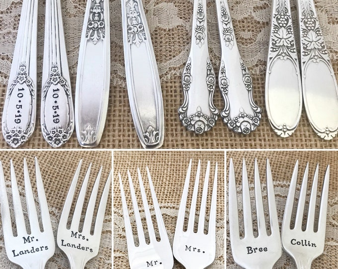 Choose pattern: Personalized forks with names and date. Vintage dinner forks,  hand stamped