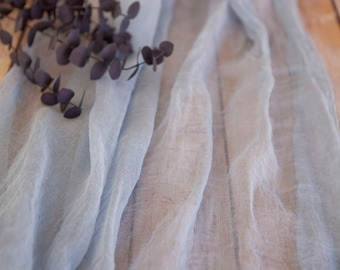 Vintage Blue Gauze Cheesecloth Table Runner Weddings Events Arbors Arch Hand Dyed Cotton Scrim Dusty Blue Cheesecloth Runner Length Choice