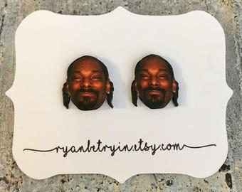 Snoop Dogg Earrings - Snoop Dogg Studs - Stoners - Snoop Lion - West Coast - 420 Jewelry - Hip Hop Rap Celebrity Earrings - 90s - Quirky