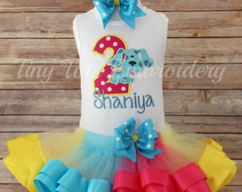 Blues Clues Birthday Tutu Outfit ~ Includes Top, Ribbon Trim Tutu & Hairbow ~ Can be made in any colors of your choice!