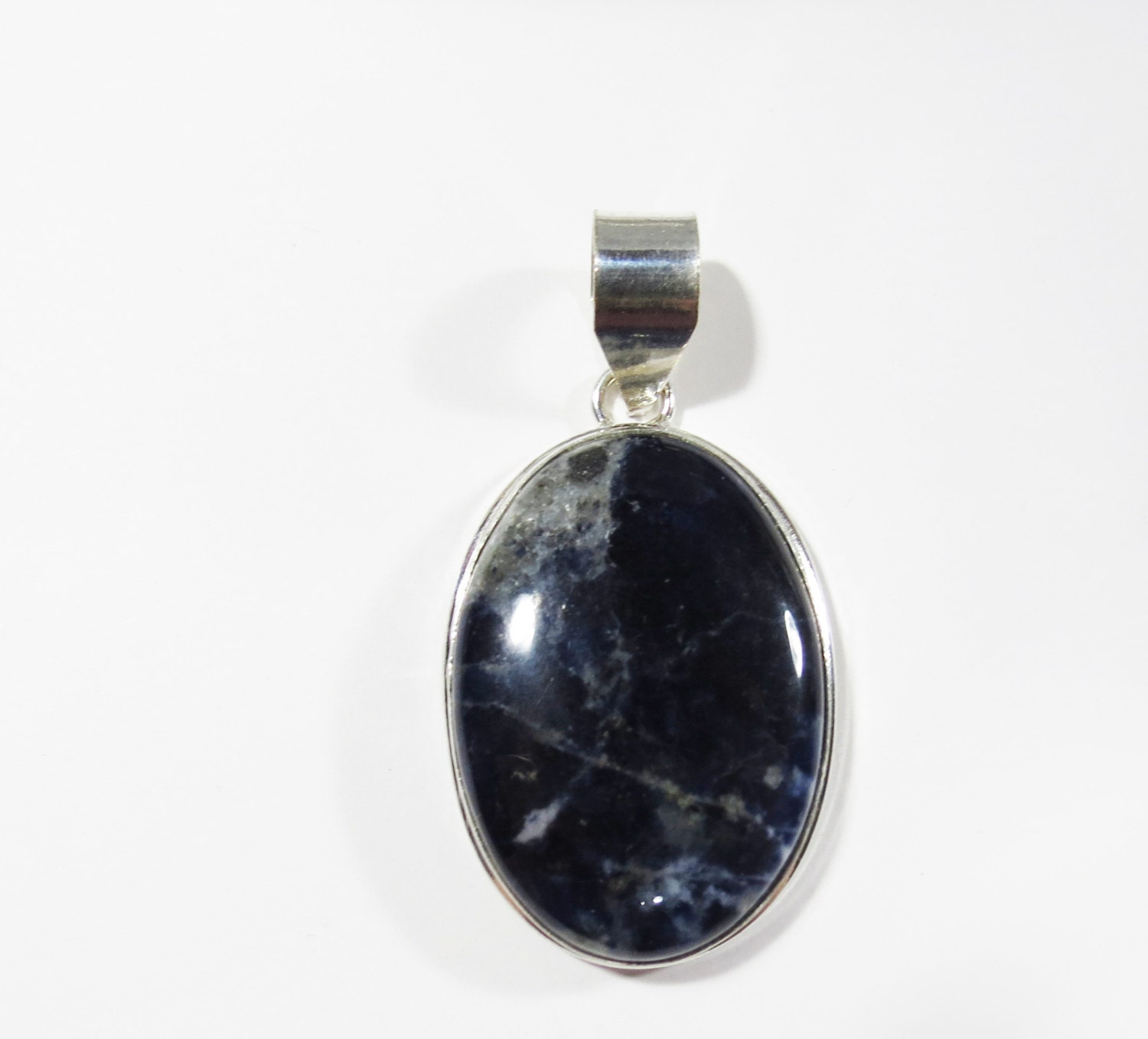 blue gemstone sterling pin navy lazuli teardrop silver pendant necklace nautical