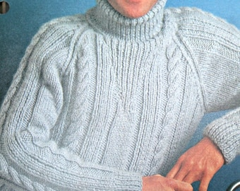 Turtleneck Knitting Pattern Men Sweater Knitting Pattern Sizes 38 - 44 FRENCH Aran Weight Yarn Vintage Paper Original NOT a PDF