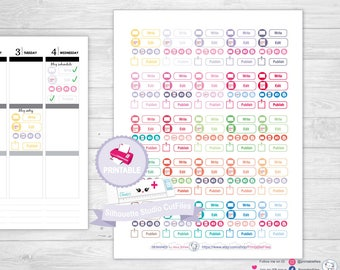 Blog planner stickers, printable planner stickers, writer planner stickers, erin condren planner stickers, happy planner stickers, tn
