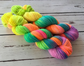 Neon Rainbow Hand Dyed Superwash Merino/ Nylon Sock Yarn