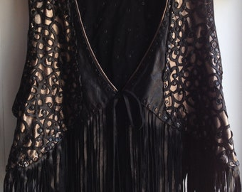 Dark Bohemian Black Silver  Perforated Leather  Fringe Hippie Wedding  Vest