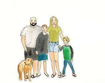 Custom family portrait with pets