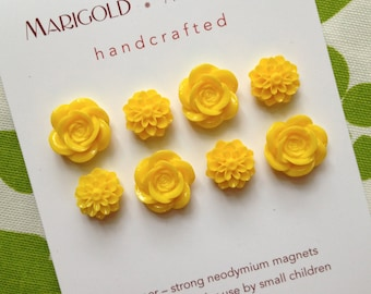 SUPER STRONG, fun magnets, set of 8, yellow flowers, extra strong magnets,hostess gift, gardener, magnet board, locker magnets