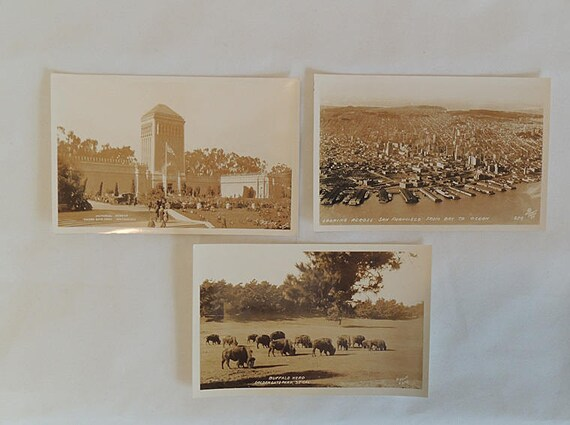 3 Vintage San Francisco RPPC Piggott Sepia Postcards.. Bay to Ocean & Golden Gate Park