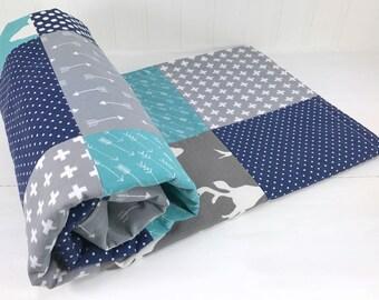 Woodland Baby Blanket, Woodland Nursery Decor, Baby Quilt, Baby Shower Gift, Baby Boy, Navy Blue, Navy, Grey, Gray, Teal, Deer, Buck, Arrow