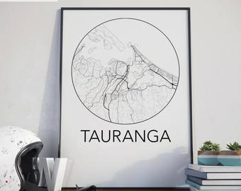 Tauranga, New Zealand Minimalist City Map Print