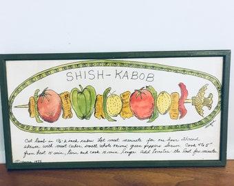 Soovia Janis Mid Century Framed Kitchen Shish-Kabob Recipe Print Framed, Hand Decorated, Jacque 1975, Kitchen Wall Art