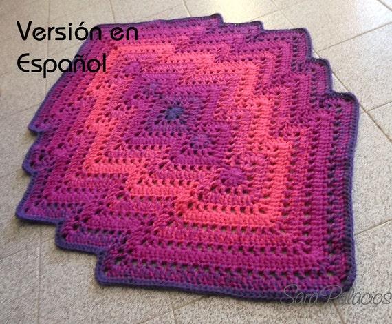 Patrón de Crochet de Alfombra Bargello. Alfombra de ganchillo. Patron de manta de juegos de crochet. Patron de alfombra bargello de crochet