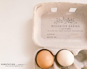 Egg Carton Rubber Stamp - Custom Stamp - Hand drawn - Large Egg Carton Label - Farm Stamp - Fresh Eggs Stamp - Chicken Coop - Packaging