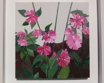 embroidery - embroidery wall art - wall art embroidery - textile art - contemporary art - floral wall art - bedroom artwork