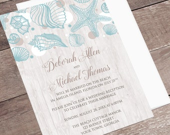 Beach Reception Only Invitations - Seashell Whitewashed Wood - Post-Wedding, Destination Wedding - Printed Seashell Invitations