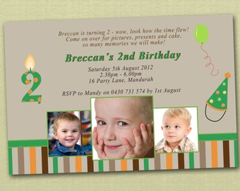 Photo Personalised Boy's Birthday Invitations - You Print