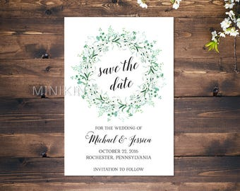 Save The Date Cards, Green Floral Save The Date, Floral Save The Date Cards, Wedding Announcement, Magnet Save The Date, Garden Wedding x 25