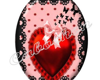 1 cabochon 30mm x 40mm glass Coeur Valentine, red and black