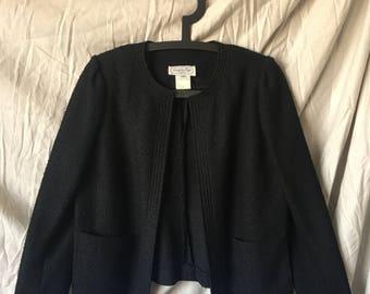 Union label jacket: black, boucle, light, breathable, 80s, Leslie Fay Petites, ILGWU