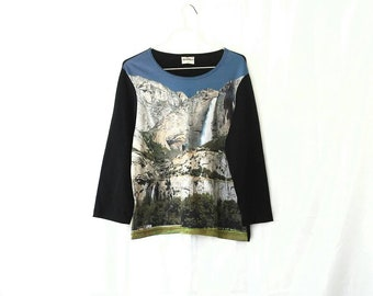 Photo Print Waterfall Shirt Photorealistic Top Long Sleeve XL