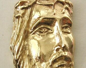 Genuine SOLID 9K 9ct YELLOW GOLD Jesus Head Pendant Religion