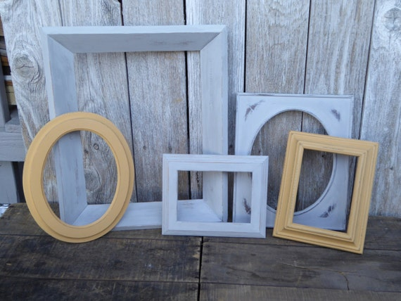 painted wood picture frames. 5 Hand Painted Wood Frames ~ Yellow \u0026 Gray Distressed Oval Frame Collage Wedding Events Home Decor Set Of Wall Collection From Picture