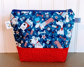 Independence Day Sock Knitting Project Bag