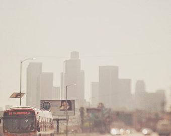 downtown Los Angeles photograph, LA skyline, DTLA photo, metro bus, urban decor,  gray orange, loft wall art, buildings, cityscape