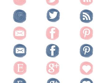 Watercolor, social media icons set, social media buttons, social media clip art, Pink, dusty blue-PNG, blog elements