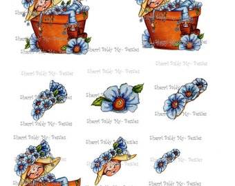 Instant Download Fancy Pants Garden Dreamer 3D Decoupage kit Besties Big Head Dolls Digi By Sherri Baldy