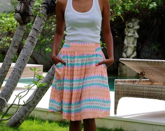Geometric Skirt in Coral, Purple, Mint Green and White, Midi Skirt, Medium Length Skirt Ready to Ship