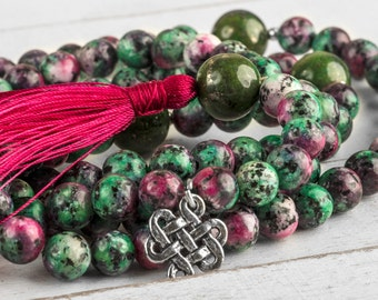 108 Mala Necklace Ruby In Zoisite - Yoga Mala, Buddhist Mala, Yoga Necklace, Buddhist Necklace, With Endless Knot Charm