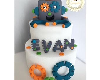 Robot Cake Topper , Robot Cake , Robot Topper , Robot Theme
