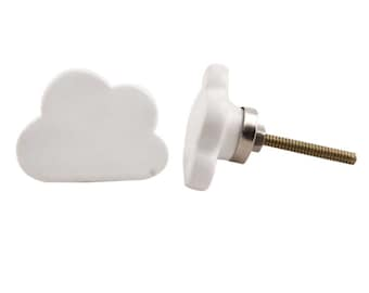 White Fluffy Cloud Drawer Knob Pull Handle Nursery Childrens Drawers