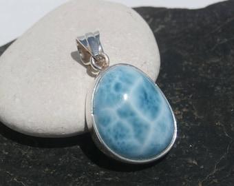 Marbled larimar Pendant Handmade In Sterling Silver 925