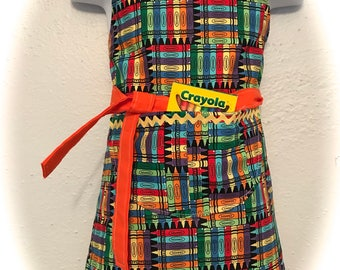 Toddler 3-6 reversible apron / crayons and hand print