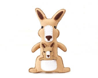 Kangaroo Stuffed Animal Sewing Pattern, Kangaroo Hand Sewing Pattern, Plush Kangaroo and Joey, Kangaroo Softie Stuffie