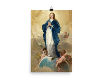 The Immaculate Conception - religious art print - from a painting by Goya - christian wall art - Virgin Mary wall art