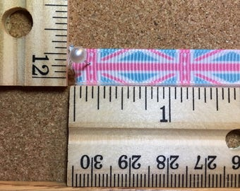 Pink Light Blue Union Jack Flag 3/8 inch Grosgrain Ribbon