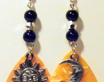 Sun and Moon Charm Guitar Pick Beaded Earrings - Handmade in USA