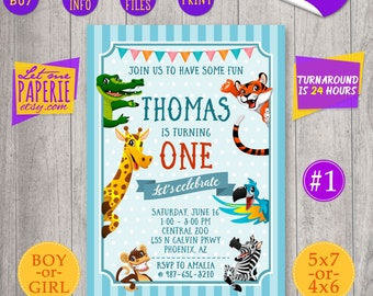 Animals Birthday Invitation, Zoo Birthday Invitation, Jungle Birthday Invitation, Safari animals invite, Jungle invite, Zoo animals invite