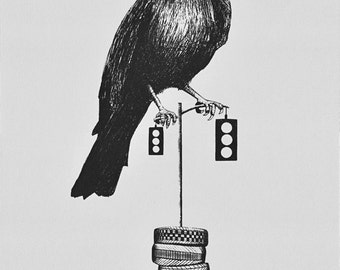 You Win - a screenprinted poster - a Crow, Stoplight, and Radials
