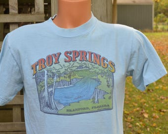 70s T-Shirt Troy Springs, Branford, Florida Magnitude Spring Scuba Diving Snorkeling Swimming Hole Large Light Blue Tee