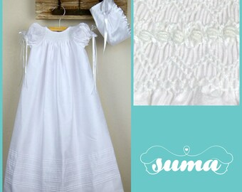 Christening Gown, Baptism dress, Girls Christening Gown, long white Christening Gown with Bonnet Shantung Fabric