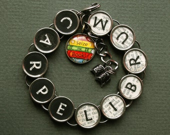 Carpe Librum Bracelet Seize the Book Lover Gift Literary Bookish Themed Jewelry
