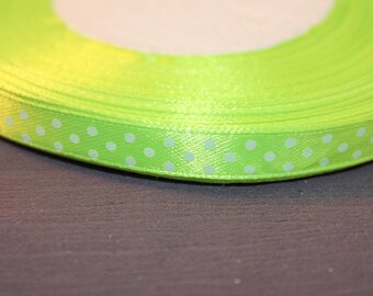 5 meters of scrapbooking jewelry white satin polka dot Apple Green Ribbon