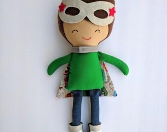 Handmade Boy doll, Cloth doll - ready to ship doll- fabric doll - rag doll - Pirate doll - Superhero doll - dress up doll -big brother gift